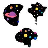 Illustrazione piana del fumetto per il web e la decorazione della stampa, spazio cosmico di disegno sveglio illustrazione di stock