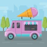 Illustrazione piana del furgone del gelato illustrazione vettoriale