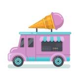 Illustrazione piana del furgone del gelato royalty illustrazione gratis