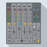 Illustrazione piana del miscelatore del DJ del suono di stile Immagine Stock Libera da Diritti