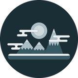 Illustrazione piana del paesaggio di inverno di notte della natura di vettore di progettazione con la luna, le montagne, le nuvol Fotografie Stock Libere da Diritti