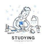 Illustrazione piana del ragazzo dello studiyng di vettore Fotografia Stock