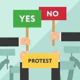 Illustrazione piana del segno di protesta della tenuta della mano Protesta o dimostrazione Fotografie Stock