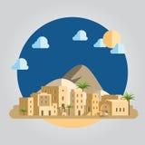 Illustrazione piana del villaggio di deserto di progettazione Fotografia Stock