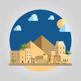 Illustrazione piana del villaggio di deserto di progettazione Immagine Stock
