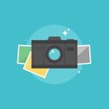 Illustrazione piana dell'icona della macchina fotografica digitale Fotografie Stock Libere da Diritti