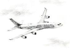 illustrazione piana dell'illustrazione del airbus A340 Immagine Stock
