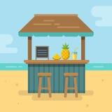 Illustrazione piana della barra della spiaggia Fotografia Stock