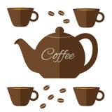 Illustrazione piana della caffettiera con l'insieme delle tazze nel colore marrone Fotografia Stock Libera da Diritti