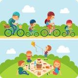 Illustrazione piana della famiglia di picnic Fotografia Stock Libera da Diritti