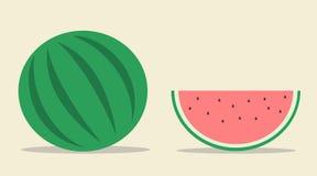 Illustrazione piana della frutta dell'anguria Fotografia Stock Libera da Diritti