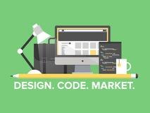 Illustrazione piana della gestione di programmazione del sito Web Fotografia Stock Libera da Diritti