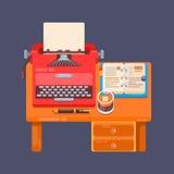 Illustrazione piana della macchina da scrivere del posto di lavoro del fondo realistico di organizzazione Immagine Stock Libera da Diritti