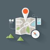 Illustrazione piana della mappa di itinerario Fotografia Stock Libera da Diritti