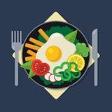 Illustrazione piana della prima colazione sana Fotografie Stock Libere da Diritti