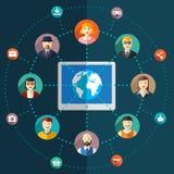 Illustrazione piana della rete sociale con gli avatar Fotografia Stock Libera da Diritti
