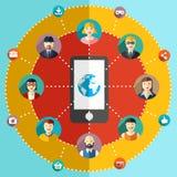 Illustrazione piana della rete sociale con gli avatar Immagini Stock