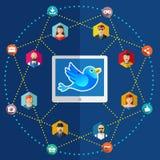 Illustrazione piana della rete sociale con gli avatar Immagine Stock