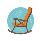 Illustrazione piana della sedia di oscillazione Immagine Stock
