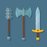 Illustrazione piana delle armi medievali di fantasia illustrazione di stock