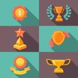 Illustrazione piana delle icone del trofeo e dei premi Immagine Stock
