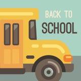 Illustrazione piana dello scuolabus giallo illustrazione vettoriale