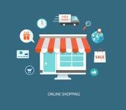 Illustrazione piana di acquisto online Fotografia Stock