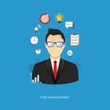 Illustrazione piana di concetto della gestione di impresa Uomo dell'ufficio con la i illustrazione vettoriale