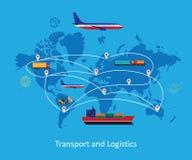 Illustrazione piana di concetto di logistica Immagine Stock