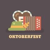 Illustrazione piana di festival della birra di Oktoberfest illustrazione di stock
