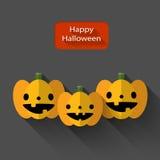 Illustrazione piana di Halloween delle zucche felici del trio Immagini Stock Libere da Diritti