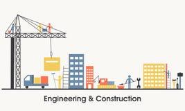 Illustrazione piana di ingegneria e di costruzione Immagine Stock