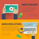 Illustrazione piana di istruzione online Fotografie Stock