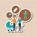 Illustrazione piana di progettazione della famiglia, icona della gente Fotografie Stock Libere da Diritti