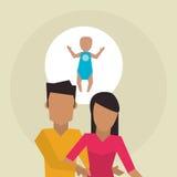 Illustrazione piana di progettazione della famiglia, icona della gente Immagini Stock
