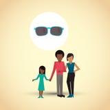 Illustrazione piana di progettazione della famiglia, icona della gente Fotografia Stock