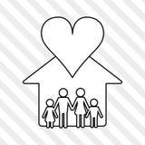 Illustrazione piana di progettazione della famiglia, icona della gente Immagine Stock Libera da Diritti