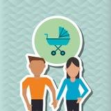 Illustrazione piana di progettazione della famiglia, icona della gente Fotografia Stock Libera da Diritti