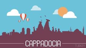 Illustrazione piana di progettazione della siluetta dell'orizzonte di Cappadocia Turchia Fotografie Stock