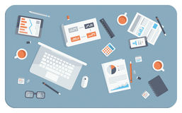 Illustrazione piana di riunione d'affari Fotografie Stock