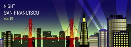 Illustrazione piana di San Francisco Vista di notte Fotografie Stock