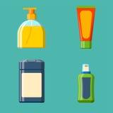 Illustrazione piana di stile della bottiglia del bagno dello sciampo della doccia di plastica del contenitore per progettazione d illustrazione vettoriale