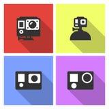 Illustrazione piana di stile di vettore della videocamera di azione Fotografia Stock