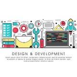 Illustrazione piana di stile per progettazione e sviluppo Fotografie Stock Libere da Diritti