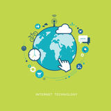 Illustrazione piana di tecnologia di Internet Fotografie Stock Libere da Diritti