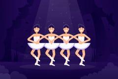Illustrazione piana di vettore di balletto, ballerine nel dancing sulla fase con luce sui precedenti scuri Balletto piano royalty illustrazione gratis