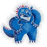 Illustrazione piana di vettore bizzarro del mostro del carattere, blu sveglio MU illustrazione vettoriale