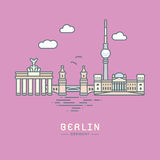 Illustrazione piana di vettore dei punti di riferimento di Berlin City Immagini Stock