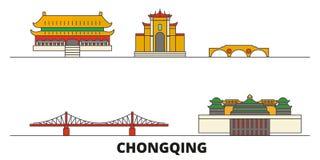 Illustrazione piana di vettore dei punti di riferimento della Cina, Chongqing Linea città con le viste famose di viaggio, orizzon illustrazione vettoriale