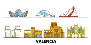 Illustrazione piana di vettore dei punti di riferimento della Spagna, Valencia Linea città con le viste famose di viaggio, orizzo royalty illustrazione gratis